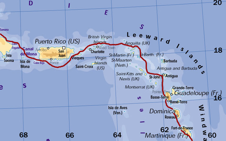 Caribbean Virgin Islands Leeward Islands To Dominica Links